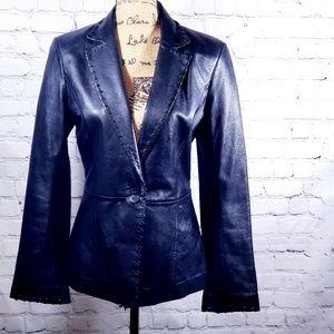 Cache' 100% black leather jacket size 8